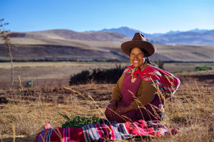 Local grower from Peruvian Andes who grows some of the natural ingredients for the Nourishing Radiant Face Serum by Nunaia