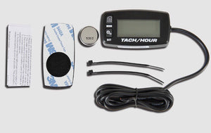 Inductive tachometer with hour meter backlit display flash alert service alarms for gasoline engine