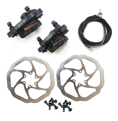 Bike Disc Brake Kit - Mountain Bicycle Bike Mechanical Front and Rear 160mm Caliper Rotor BB5 BB7 whit Bolts and Cable