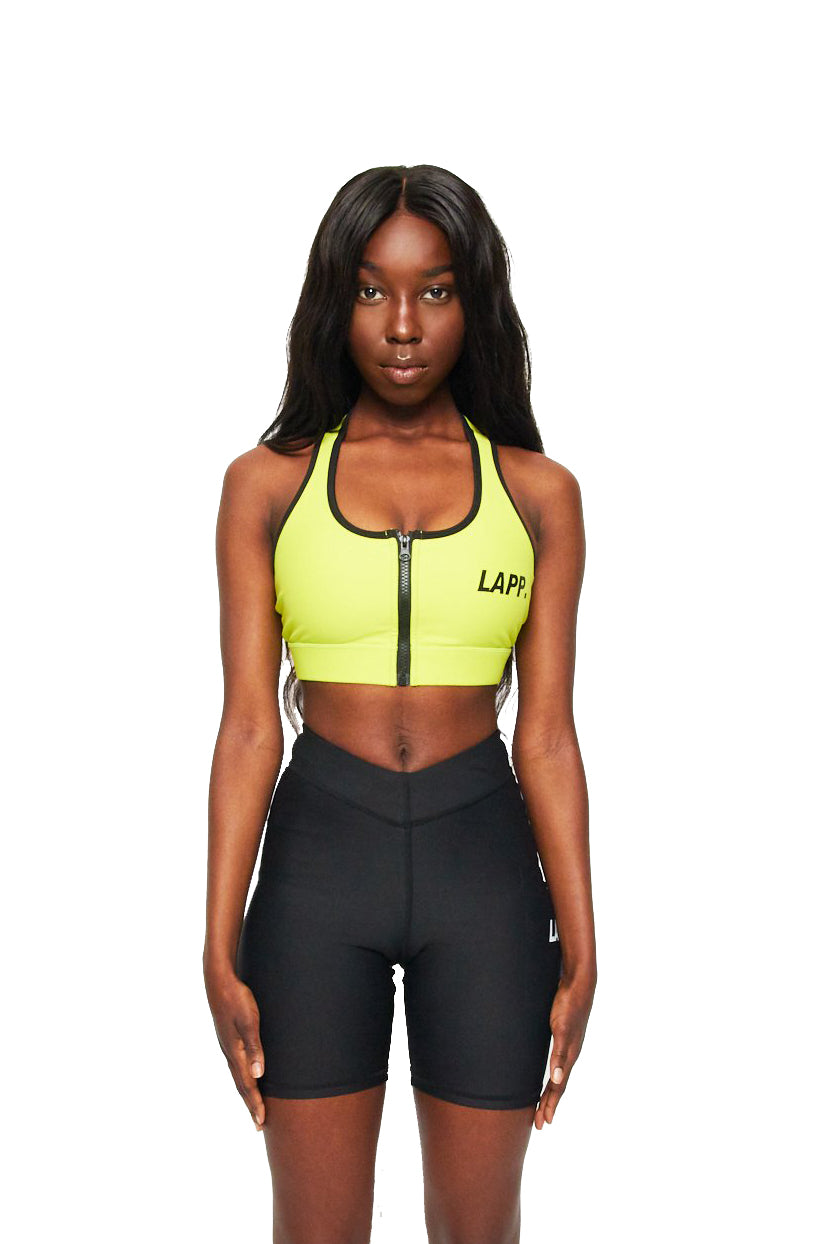 LAPP Zip front push up sports bra [Lime green]