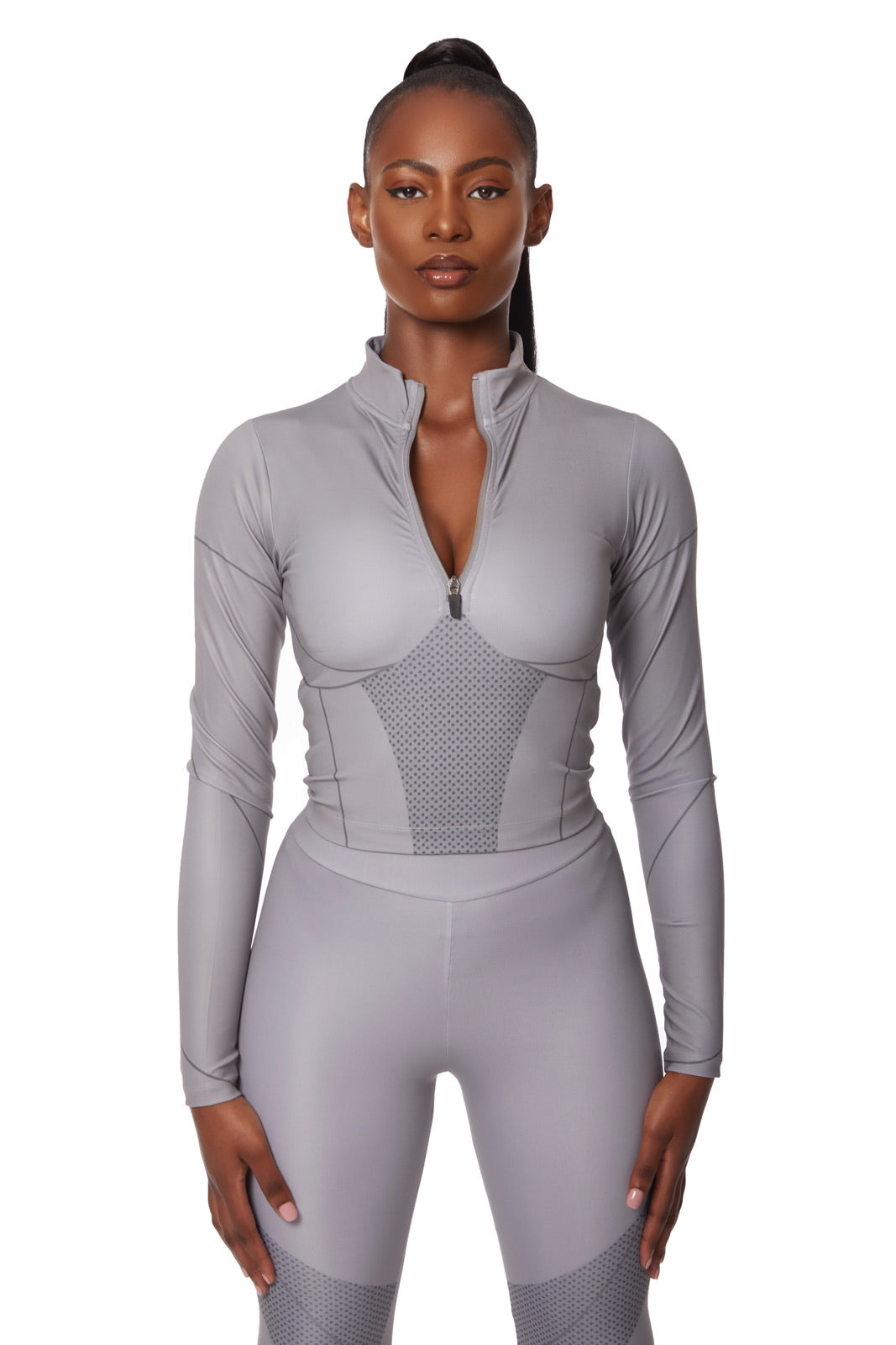 Contour graphic half zip co-ord [Grey]