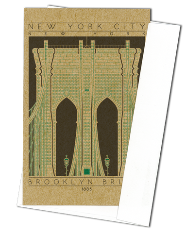 Brooklyn Bridge - 1883 Green Miniature Digital Print