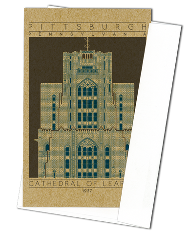 Cathedral of Learning - 1937 Blue Miniature Digital Print