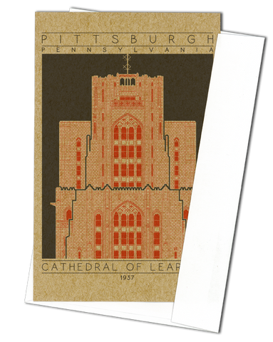 Cathedral of Learning - 1937 Orange Miniature Digital Print