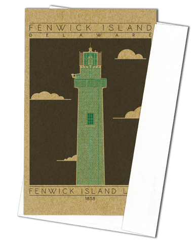 Fenwick Island Light - 1858 Green Miniature Digital Print