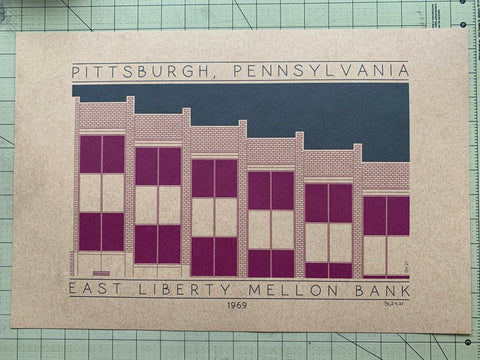 East Liberty Mellon Bank - 1969 Purple Digital Print