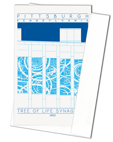 Tree of Life Synagogue - 1953 Blue Miniature Digital Print