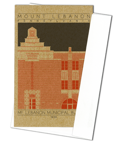Mount Lebanon Municipal Building - 1930 Orange Miniature Digital Print
