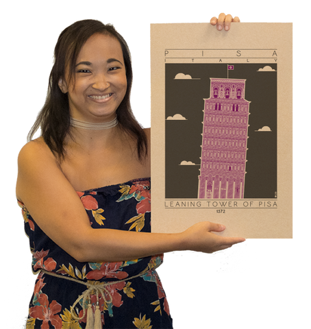 Leaning Tower of Pisa - 1372 Purple Digital Print