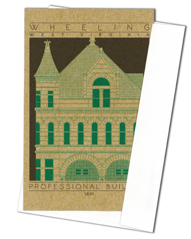 Professional Building - 1891 Green Miniature Digital Print