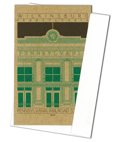 Wilkinsburg Pennsylvania Railroad Station - 1916 Green Miniature Digital Print