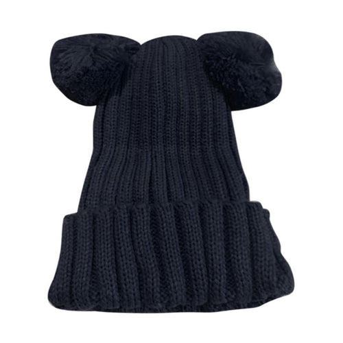 Pompom Winter Hat - Cute Cotton Winter Bobble Hat - Blue - Horizon Ave.