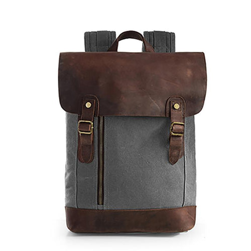 The Scholar - Grey Vintage Genuine Leather Backpack Bag - Horizon Ave.