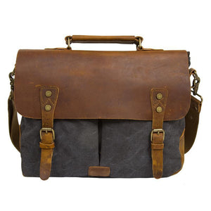The Messenger - Grey Genuine Cow Leather Vintage Messenger Bag. Horizon Ave