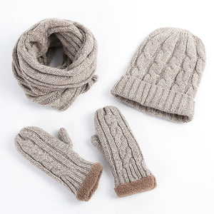 Beige Knitted Winter Hat, Scarf & Mittens - Horizon Ave.