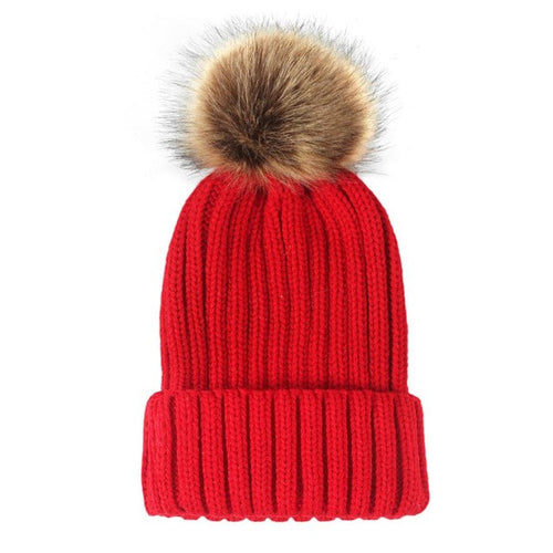 Thick Pompom Winter Beanie