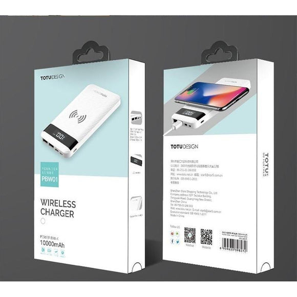 TOTU DESIGN 10000mAH WIRELESS POWER BANK for Wireless Chargeable Mobiles - LogicInside