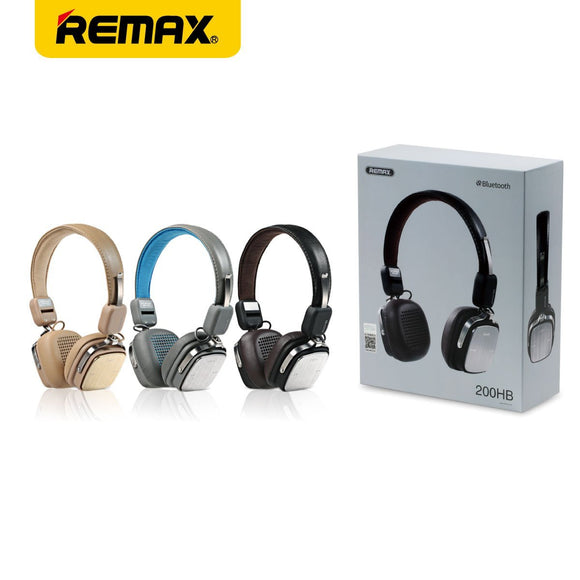 REMAX 200HB : V4.1 Bluetooth headphone with Bass & Foldable Earbuds Comfortable Leather Pad with MIC - LogicInside