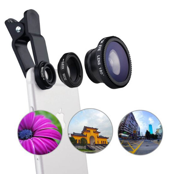 3 In 1 HD Universal Clip Camera Mobile Phone Len Fish Eye, Macro & Wide Angle - LogicInside