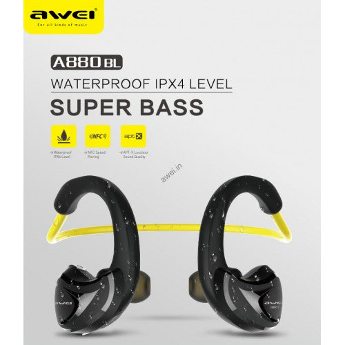 awei A880BL : Waterproof Super-Bass Neckband Noise-Isolation NFC Bluetooth4.1 Headset - LogicInside