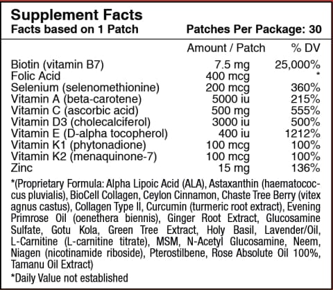 Biotin Plus Vitamin Patch for Hair, Skin and Nails by PatchAid