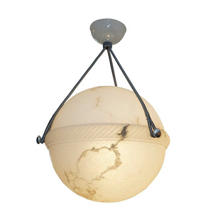 Carved Alabaster Globe Light Fixture,  Sweden, 1930