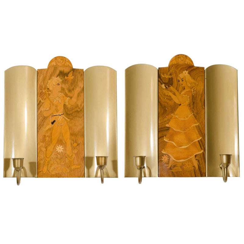 Mjolby Intarsia Sconces , Sweden 1925