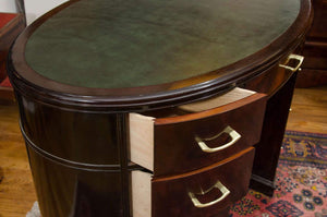 Ebonized Mahogany Art Deco Desk with  Bookcase