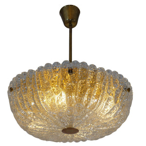 Orrefors Glass Chandelier, Sweden 1945