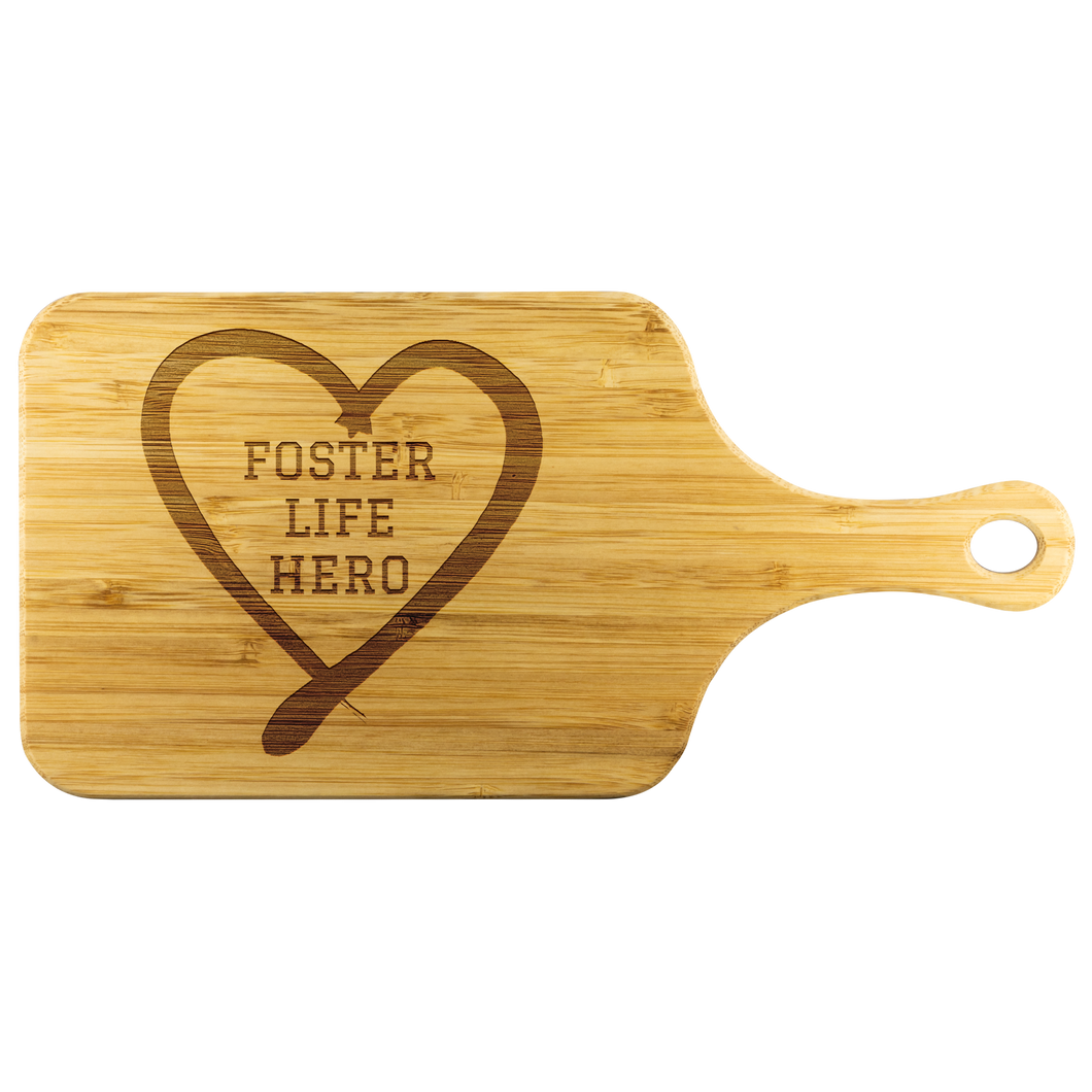 Foster Life Hero Wood Cutting Board With Handle