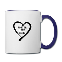 Load image into Gallery viewer, Foster Life Hero Contrast Coffee Mug - white/cobalt blue