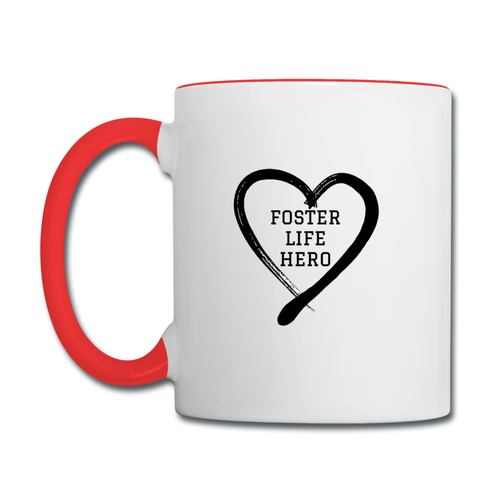 Foster Life Hero Contrast Coffee Mug - white/red