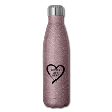 Load image into Gallery viewer, Foster Life Hero Insulated Stainless Steel Water Bottle - pink glitter