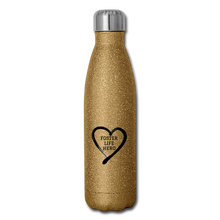 Load image into Gallery viewer, Foster Life Hero Insulated Stainless Steel Water Bottle - gold glitter
