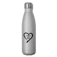Load image into Gallery viewer, Foster Life Hero Insulated Stainless Steel Water Bottle - silver glitter