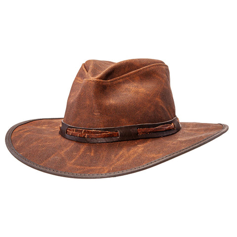 front view of the rust colored trail dust outback fedora hat