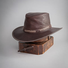 Bison Buffalo Leather Packable Hat