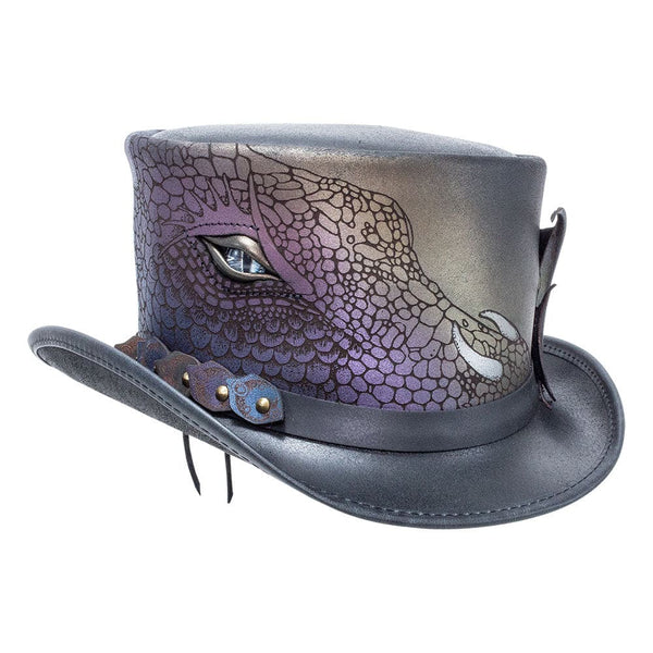 Leather Top Hat Draco with Dragon Detail Steampunk Hatter from Head'n Home