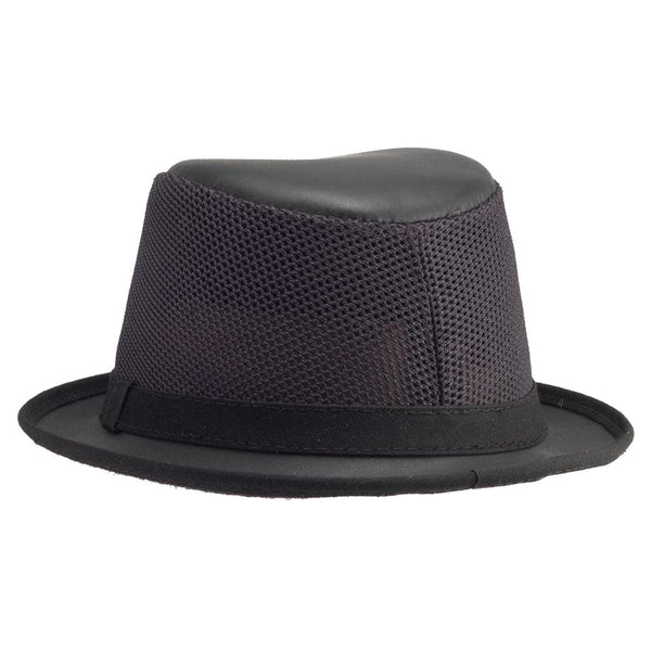 black mesh breathable fedora with uv protection player solair hats head 39 n home. Black Bedroom Furniture Sets. Home Design Ideas