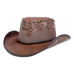 Sierra Brown Leather Mesh Cowboy Hat American Hat Makers