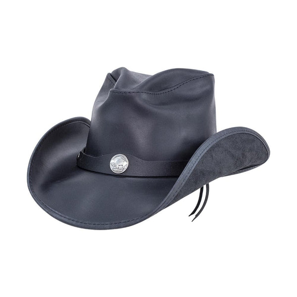 Pinched Crown Leather Cowboy Hat w/ Buffalo Nickel Hat Band Western from Head'n Home