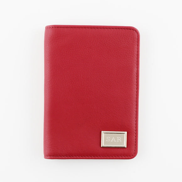 Red Leather Passport Holder with RFID