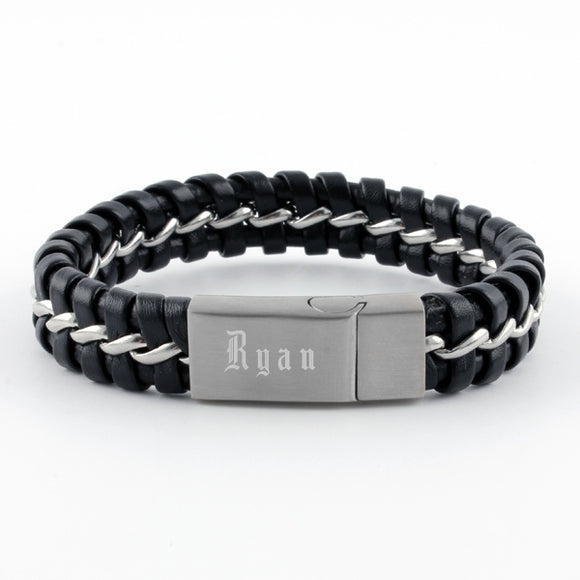 Ident Mens Braided Black Leather Band