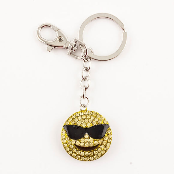Sunglasses Happy Face Bling Keychain