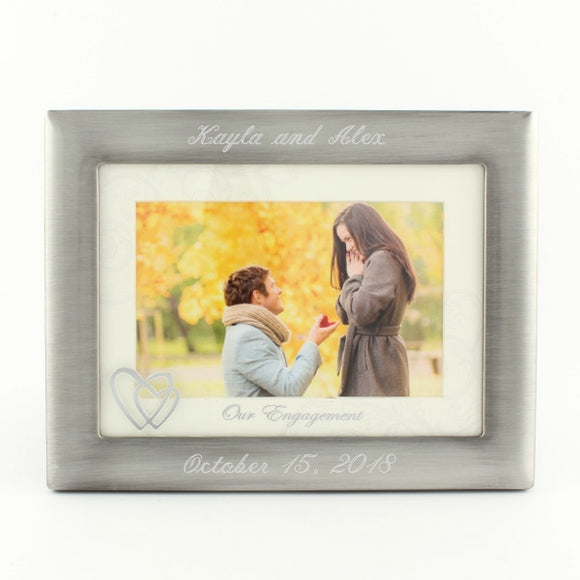 4x6 Engagement Frame Brushed Silver with Matt