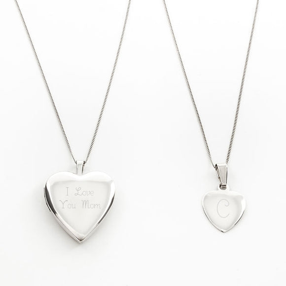 Sterling Mommy & Me Locket  Set
