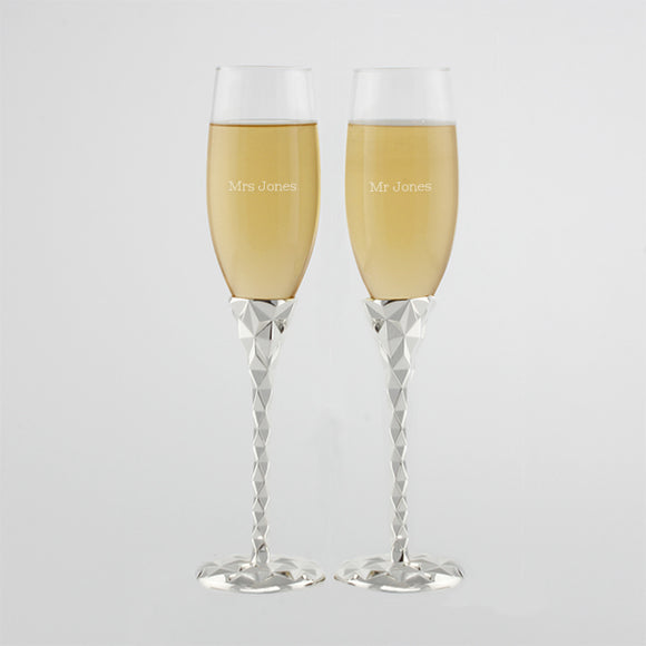 Geometric Champagne Flutes - Set of 2