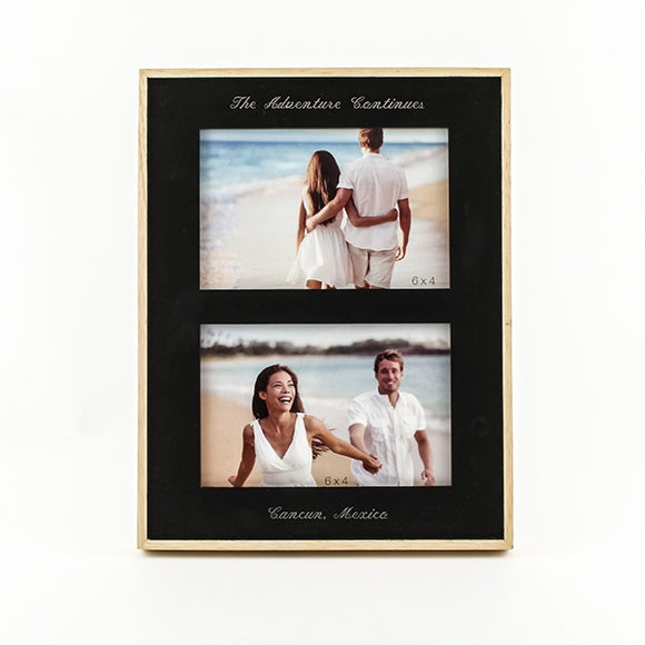 Double 4x6 Black/Wood Frame