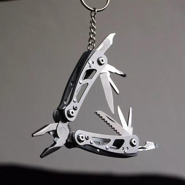 Multitool 9-in-1 Pocket Keychain for Survival Emergency Folding Stainless Steel