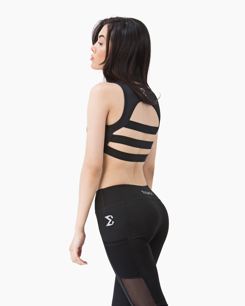 Black Mesh Sports Bra - Sigma Fit US